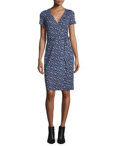 TCG7Q Diane von Furstenberg New Julian Two Mini Ribbon Weave Wrap Dress