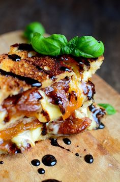 This gourmet grilled cheese is AMAZING. Sweet, salty, and gooey.  You can even make the balsamic reduction in the microwave.