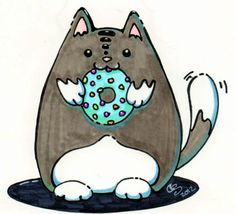 Cat Eating Donut | Fat Cat Eating a Donut:: by xCanesGalacticax