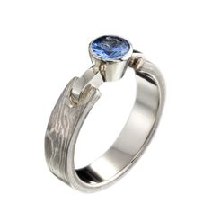 jenny reeves - Silver/ white gold Woodgrain solitaire with sapphire
