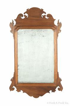 "Philadelphia Chippendale mahogany looking glass, late 18th c., bearing the label of John Elliott & Sons, 29 1/2"" h."