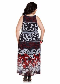 Ashley Stewart Women's Plus Size Web Exclusive: Knot Front Maxi Dress Multi 18/20
