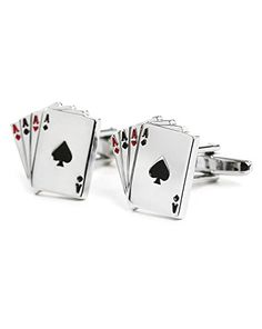 """Card Game Cufflink Black Red and Silver Poker Cards Novelty Men Unisex Cufflink. High quality polished Stainless Steel Cufflink. Fashionable Novelty & Ultra Stylish. Perfect Gift: Birthday Wedding, Anniversary or a treat for yourself. Approx. size 3/4"""" x 1/2"""". Presented in a nice suede pouch."""