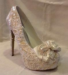 Wedding Bridal  Shoes Hand Made Rhinestones by Elfinacreation, $229.00
