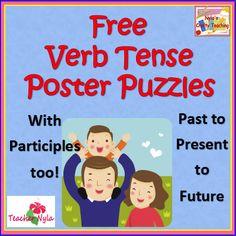 Free Verb Tense Poster Puzzles #ela #verbs