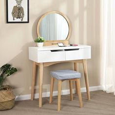 SONGMICS Vanity Table Set with Mirror 2 Large Sliding Drawers Makeup Dressing Table with Cushioned Stool White STYLISH MODERN DESIGN: Round mirror and elegant appearance in white, easily compliment many décor designs and room colors, perfectly m Makeup Dressing Table, Dressing Table With Stool, Dressing Table Mirror, Narrow Dressing Table, Vanity Table Set, Vanity Set With Mirror, White Vanity, Ikea Furniture, Bedroom Furniture
