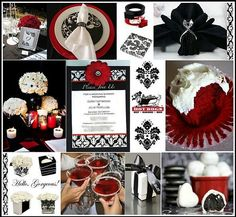 Black red white wedding