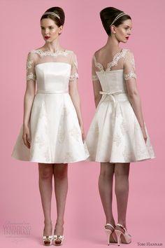 tobi hannah 2014 short wedding dress carter illusion sleeves front back