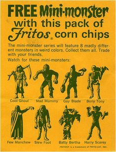 The classic MPC mini-monsters , relaunched by Fritos in the 1960s. A figure in every bag! #minimonsters #fritos #collectibles