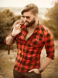 Lumber jack anyone? Barbas in 2019 beard lumber - Beard Pelo Hipster, Estilo Hipster, Hipster Hair, Hipster Style, Trendy Haircuts, Haircuts For Men, Haircut Men, Summer Haircuts, Medium Haircuts