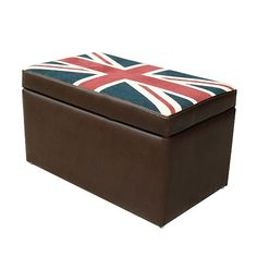 Brown 'Kubic' bonded leather and 'Union Jack' storage bench