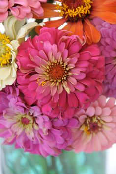 Zinnia's are a pretty garden flower but have you ever seen them in a hand tied bouquet?