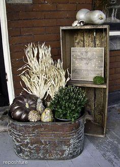 Reposhture Studio: How to build a porch vignette...and a big copper tub!