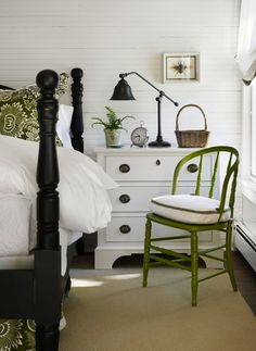 Pull Up a Seat: For a very inexpensive update to the room, forget painting the walls and just paint the furniture. From an accent chair to the bed frame or bedside table, green pieces are a fun accent for any room. (via Houzz)