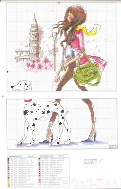 0 point de croix jeune fille moderne et son dalmatien - cross stitch modern young gir walking her dalmatian