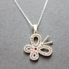 Sterling Silver Butterfly Necklace  Butterfly by LibertaFashion, $23.00