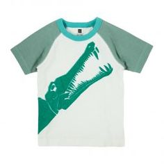 Moroccan Croc Raglan Tee | This prehistoric crocodile was inspired by ancient fossils that were uncovered in Morocco.