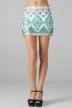 Aztec Pattern Sequined Mini Skirt
