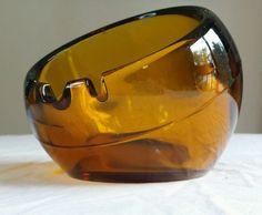 "Vintage Amber Viking Glass Mid Century Modern Large 6"" Sphere Orb Ashtray Cigar"