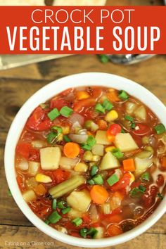 Eating Meals Crockpot With little effort, your family can enjoy Slow Cooker Vegetable Soup Recipe. Toss everything into the crockpot for a hearty soup that is packed with flavor. Slow Cooker Vegetable Soup Recipe, Crock Pot Vegetables, Easy Vegetable Soup, Crock Pot Soup, Slow Cooker Soup, Slow Cooker Recipes, Cooking Recipes, Healthy Vegetables, Veggies