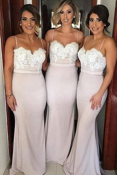 Classy Spaghetti Straps Ivory Lace Long Mermaid Bridesmaid Dresses Z1418