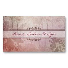 Purple Grunge Flower Business Card Spa Salon