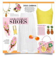 """#833 - Embellished Shoes"" by lilmissmegan ❤ liked on Polyvore featuring Dolce&Gabbana, Rebecca Taylor, Topshop, Prada, KAROLINA, dolceandgabbana, SpringStyle, statementshoes and embellishedshoes"