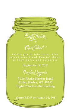 Green Mason Jar Invite