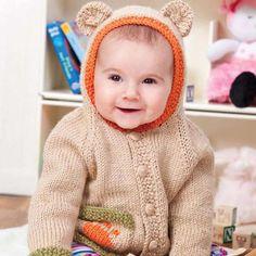 Craft Passions: Baby Bear Hoodie #Free knitting pattern