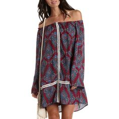 Charlotte Russe Multi Off-the-Shoulder Paisley Print Shift Dress by... ($30) ❤ liked on Polyvore featuring dresses, multi, purple shift dress, off the shoulder peasant dress, crochet dress, chiffon shift dress and purple dress