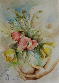 title; message with flowers.. size;42x30cm. aquarelle