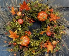Pumpkin Floral Wreath  Front Door Wreath  Fall by Designawreath, $53.95