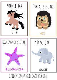 Dzieckiem bądź: Karty ruchowe ze zwierzętami Party Activities, Toddler Activities, Polish Language, Dance Games, Sensory Integration, Educational Crafts, Inspiration For Kids, Kids Education, Kids And Parenting