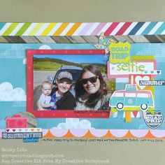 The is one of my layouts made with the August Creative Kit from My Creative Scrapbook, featuring the Lemonade Stand collection from Bo Bunny. My Scrapbook, Scrapbook Layouts, Sketch Design, Road Trip, Diy Projects, Selfie, Scrapbooking Ideas, Lemonade, Creative