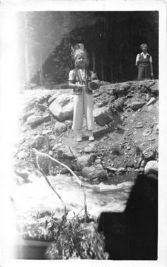 Photograph Snapshot Vintage Black and White: Girl River Indian Outfit 1950's