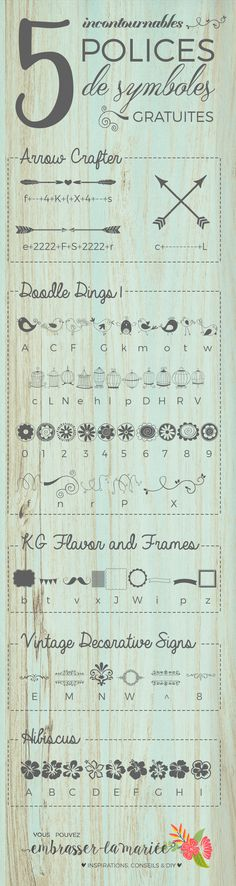 Using symbol fonts to embellish creative designs? What a great idea! Love these 5 free fonts! Wedding Drawing, Mary I, Doodle Inspiration, Bullet Journal Art, Diy Organization, Wedding Stationery, Creative Design, Rsvp, Hand Lettering