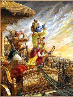 शंखनाद से शुरु कुरुक्षेत्र में महाभारत  का महायुद्ध Radha Krishna Images, Lord Krishna Images, Krishna Radha, Shree Krishna Wallpapers, Ganesh Images, Poster Background Design, Cute Krishna, Krishna Painting, Indian Art Paintings
