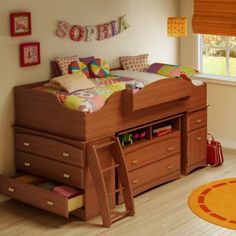 This loft bed optimizes space for a shared room! Cool Bunk Beds, Twin Bunk Beds, Loft Beds, Lofted Dorm Beds, Kid Beds, Adult Bunk Beds, Modern Bunk Beds, Kids Bedroom Sets, One Bedroom