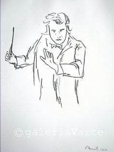 original charcoal drawing   Conductor  music  by galeriaVarte