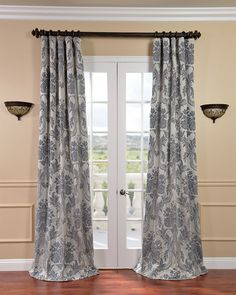 Magdelena Silver/ Blue Faux Silk Jacquard Curtains - Overstock™ Shopping - Great Deals on EFF Curtains