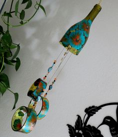 Wine Bottle Wind Chime, Amber Wind Chime, Teal And Orange Flowers, Yard Art
