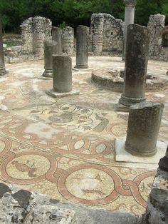 Church mosaic uncovered in July, 2004, at Butrint, Albania. Butrint is one of the most remarkable archaeological sites in the Adriatic Sea region.