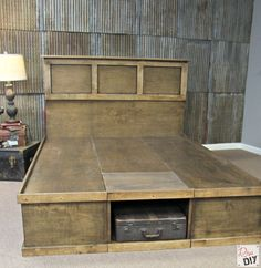 This platform bed with storage is built from a series of boxes. Learn to build a box and you can build this bed. DIY bed plans, cut list and video included.