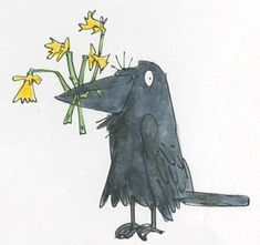 """""""A few daffodils from Mortimer on St David's Day! Quentin Blake Illustrations, Illustrations Posters, Art And Illustration, Extinct Animals, Roald Dahl, Animal Drawings, Beautiful Birds, Making Ideas, Book Art"""