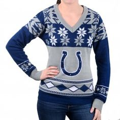 Indianapolis Colts Womens V-Neck Crew Sweater (Blue)