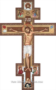The Catholic crucifix is easily distinguishable and simple. However, the artwork displays the Byzantine representation/style of the crucifix from the Monastery Icons. Religious Images, Religious Icons, Religious Art, Catholic Gifts, Catholic Art, Catholic Crucifix, Monastery Icons, Religion Catolica, Byzantine Icons