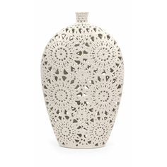 Off Large Lacey Vase by IMAX. @ Lace pattern and texture are featured in a crisp, matte white finish over the large Lacey vase. Decorative Accessories, Home Accessories, Decorative Vases, Decorative Objects, Lace Vase, White Home Decor, White Vases, Dot And Bo, Ceramic Vase