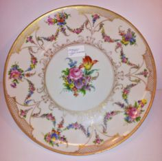 "Hirsch Dresden Plate Platter Early 20th Century 13"" Gold Trellis Rose Floral   eBay"
