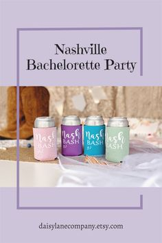 Plan a Nashville Bachelorette Party with lots of fun accessories. Start with Nash Bash can coolers in cute colors for the girls to use in style on your trip. From a Lets Get Nashty Bachelorette to a Nashville Girls Trip, these beer holders will be a hit at the party. Use the Nash Bash coolers as Last Bash in Nash bachelorette party favors or add them to goodie bags for your guests. With a variety of colors they can be used for a bachelor party too. Visit daisylanecompany.com today. Mermaid Party Favors, Unique Party Favors, Bachelorette Party Planning, Planning Budget, Girls Getaway, Team Gifts, Goodie Bags, Coolers, Nashville