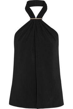 Jason Wu - Embellished Stretch-cady Halterneck Top - Black - US12